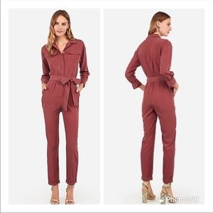 NWT Express Red Rust Utility Full Body Jumpsuit
